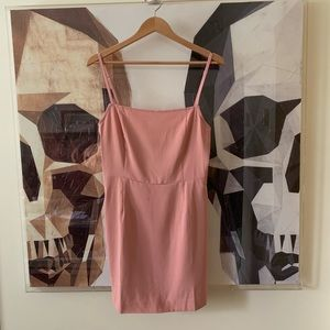 Maccs the Label blush pink slip dress square neck